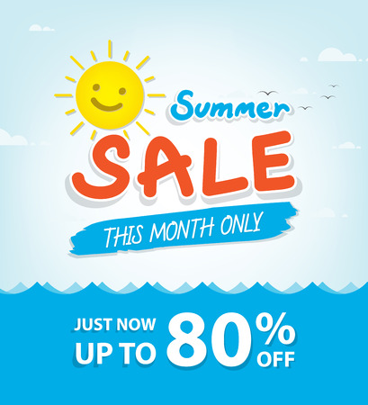 heading: Summer Sale heading design for banner or poster. Sale and discounts. Vector illustration