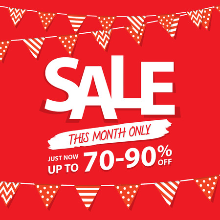 heading: Sale this month heading design for banner or poster. Sale and discounts. Vector illustration