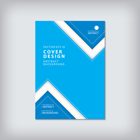 Brochure template layout, cover design annual report, magazine, flyer or booklet in A4 with blue geometric shapes zigzag background. Vector Illustration. Vectores