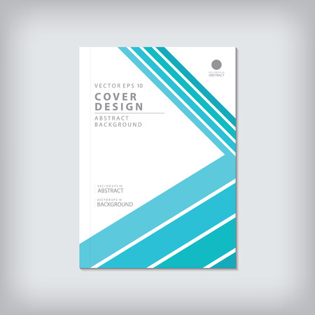 bar line: Brochure template layout, cover design annual report, magazine, flyer or booklet in A4 with blue geometric shapes bar line and arrow background. Vector Illustration.