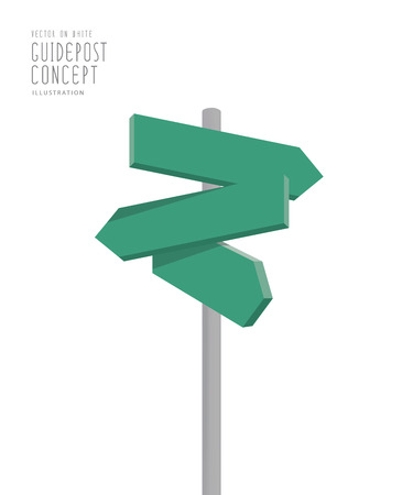 lost in space: Illustration vector blank green guidepost direction arrows for many way to the destination on white background. Illustration