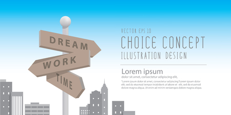 guidepost: Illustration vector banner guidepost in the big city with buildings metaphor of decision. make something about dream and work.