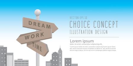 Illustrazione vettoriale Banner indicatore stradale nella grande città con edifici metafora della decisione. fare qualcosa di sogno e di lavoro.