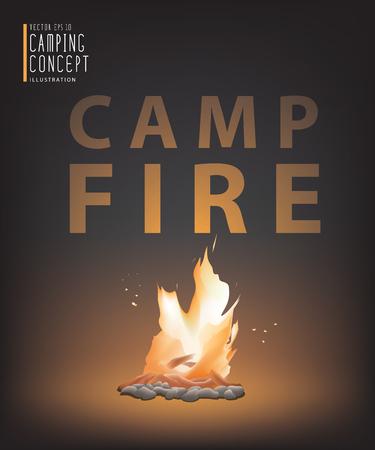 subsist: Illustration vector beautiful campfire in the dark. Illustration