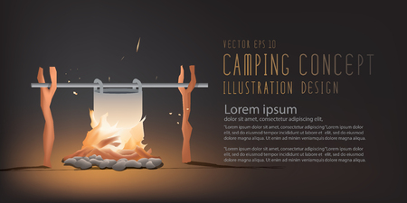 subsist: Illustration vector banner beautiful Campfire cooking for a living in the night. But it can be used on the day.