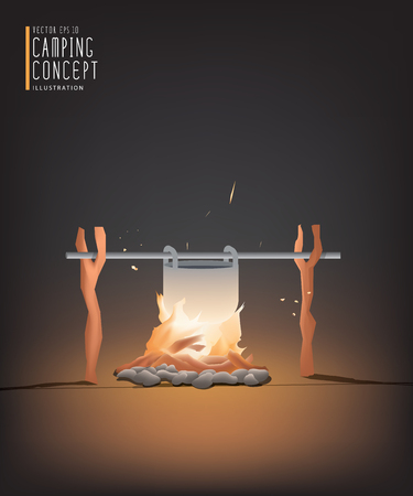 subsist: Illustration vector beautiful Campfire cooking for a living in the night. But it can be used on the day.