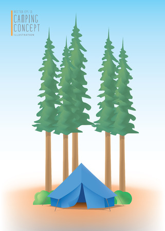 campground: Illustration vector blue camp tent the among nature of trees and forests. Illustration