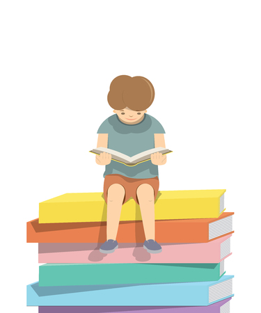 hardcover: illustration vector boy reading a book on a pile of books  White background.