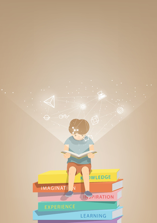 refer: illustration vector boy reading a book on a pile of books, brown background and icons refer to knowledge and learning.