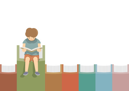 illustration vector boy Reading On the books in a row white background.
