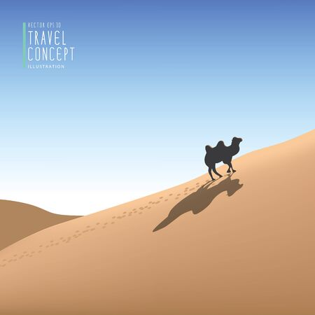 Illustration vector travelling by camel in the desert, the animals live in the desert. Illustration