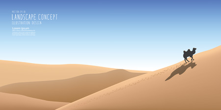 vast: Illustration vector the beautiful landscape in the vast desert and a camel traveling alone.