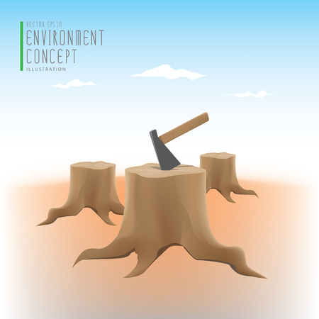 deforestation: Illustration vector the environmental problems of deforestation, many stump and axe.