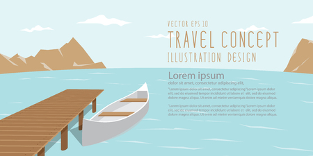 breezy: illustration vector banner landscape of lake, mountains and canoe amidst the natural beauty of the resting day.