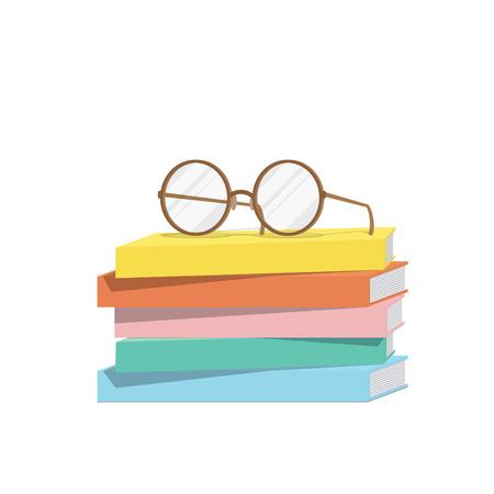 stack of books: Illustration vector eyeglasses on top stack books.