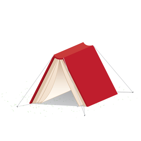 refer: illustration vector red book cover on white background that looks like a tent refer reading is relax and rest.