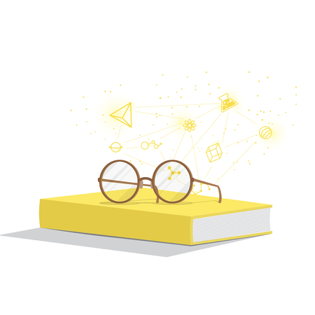Illustration vector yellow book with glasses resting on top. Background is icons refers to knowledge and learning.