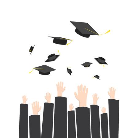 Illustration throwing graduation hat in graduation ceremony. A symbol of Graduation.