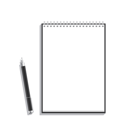 memo pad: Black pen and book wire mock up for some message or launch poster illustration. Illustration