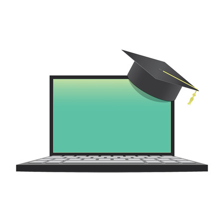 blank laptop with graduation hat mean learning through an online network. For some message or launch poster illustration, Education concept. Ilustração
