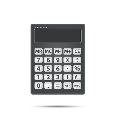 calculating: Black calculator object for calculating on white background. Math and Object Concept. Illustration