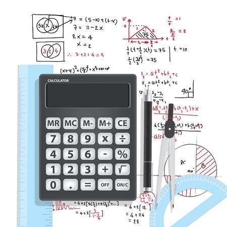 computational: Illustration Computational Mathematics With Calculators And Accessories for mathematics on mathematical formula background.