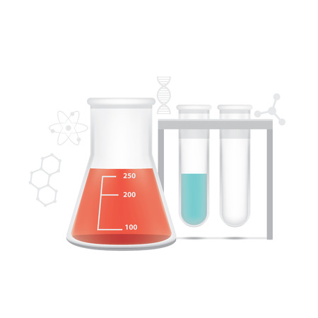 residue: illustration Chemical conical flask and test tube on white background. Education and Science and medical Concept.