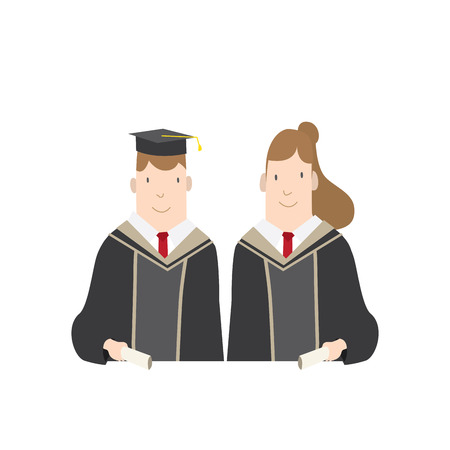 academic gown: Illustration vector Half-length cartoon character, male and female students in academic gown. Education Graduation Character Concept.