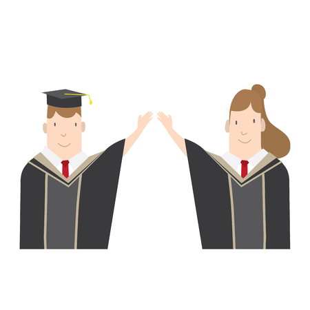 commencement: Illustration vector Half-length cartoon character, male and female students in academic gown. Education Graduation Character Concept.