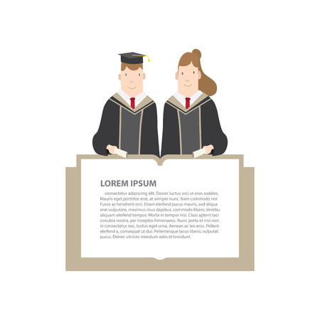 message box: Illustration vector Half-length cartoon character, male and female students in academic gown message box frame. Education Graduation Character Concept. Illustration