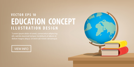 replica: Illustration vector Banner Globe model and books on the desk for learning many things about the world or meaningful learning.