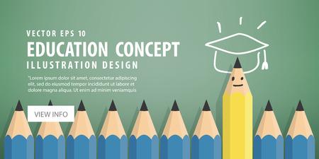 例证传染媒介横幅黄色铅笔从有成功和毕业的蓝色铅笔脱口。符号与毕业帽顶部。