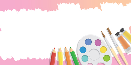 subject: Blank banner Equipment for painting for advertising and presentation about art subject study illustration vector. Illustration