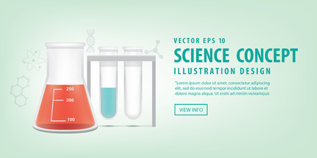 residue: Illustration vector Banner Chemical conical flask and test tube. Education and Science and medical Concept.