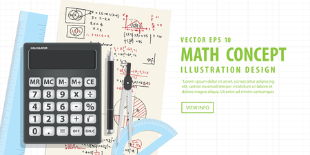 computational: Illustration vector Banner Computational Mathematics With Calculators And Accessories for mathematics on Mathematical formula background. Education and Math subject Concept.