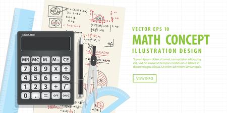 soumis: vecteur Illustration bannière mathématiques computationnelles Avec Calculatrices et accessoires pour les mathématiques sur mathématique formule fond. Éducation et Math sujet Concept.