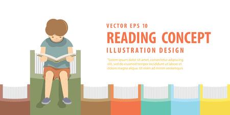 Illustration Junge Vektor auf der Bücher in einer Reihe weißen Hintergrund Lesung.