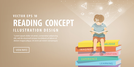 illustration vector boy reading a book on a pile of books, brown background and icons refer to knowledge and learning.