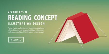 refer: illustration vector red book cover that looks like a tent refer reading is relax and rest. Illustration