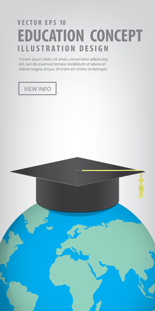 recognized: Illustration vector Banner World with a Graduation hat on top. Means education is recognized by people all over the world.