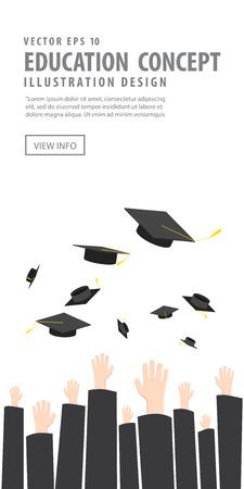 commencement: Illustration vector banner hrowing graduation hat in graduation ceremony. A symbol of Graduation. Illustration