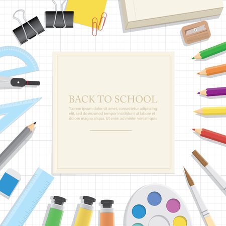 extensive: Illustration vector Poster Supplies stationery an extensive range of study or office is on the grid paper.