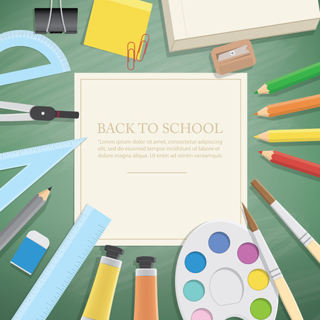 extensive: Illustration vector poster supplies stationery an extensive range of study or office is on the green blackboard.
