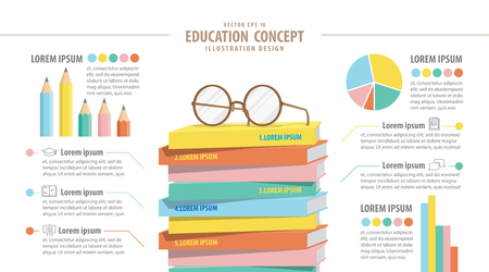 stack of books: Illustration vector Education infographic about reading and study. Eyeglasses on top stack books vector. Illustration