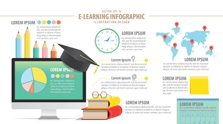 computer education: Illustration E-Learning education infographic about  study online network with computer vector.