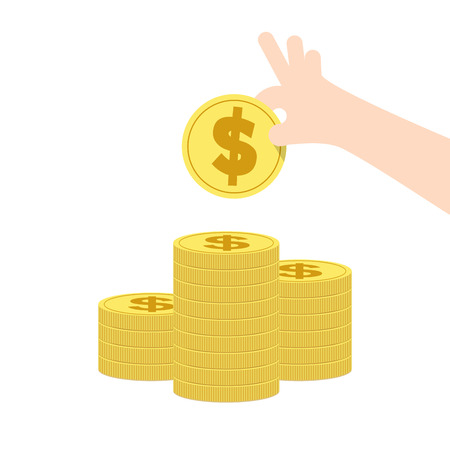 expenditure: Illustration vector saving a lot of coin stack. Finance Concept. Illustration