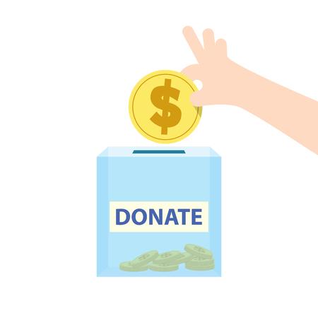 Illustration vector saving money and spending for donate. Finance Concept.