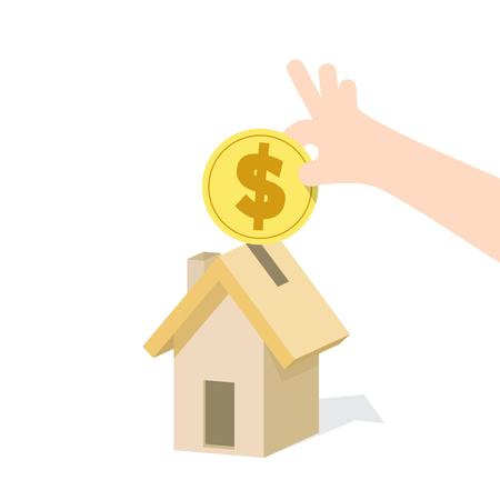 Illustration vector saving money and spending for housing. Finance Concept. Illustration