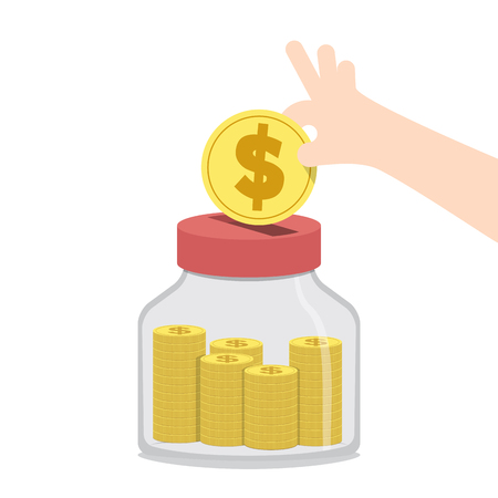 Illustration vector saving money and spending with jar. Finance Concept.