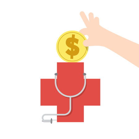Illustration vector saving money and spending for care for healthy. Finance Concept. Vectores